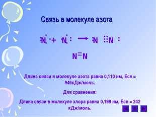 Связь в молекуле азота N + N N N N N Длина связи в молекуле азота равна 0,110