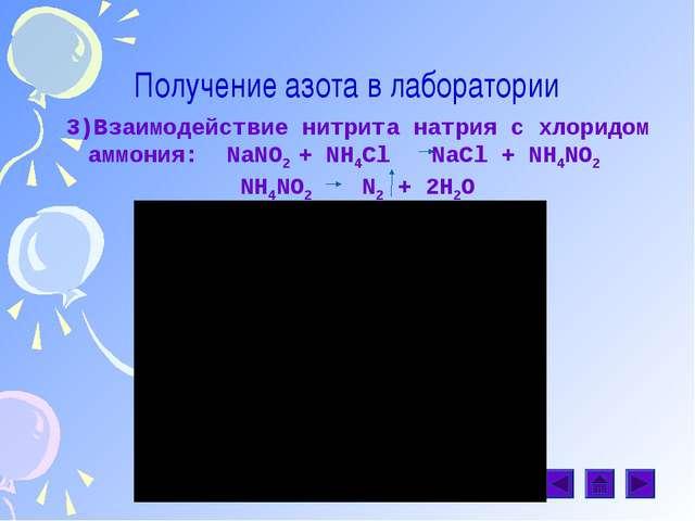 Получение азота в лаборатории 3)Взаимодействие нитрита натрия с хлоридом аммо...