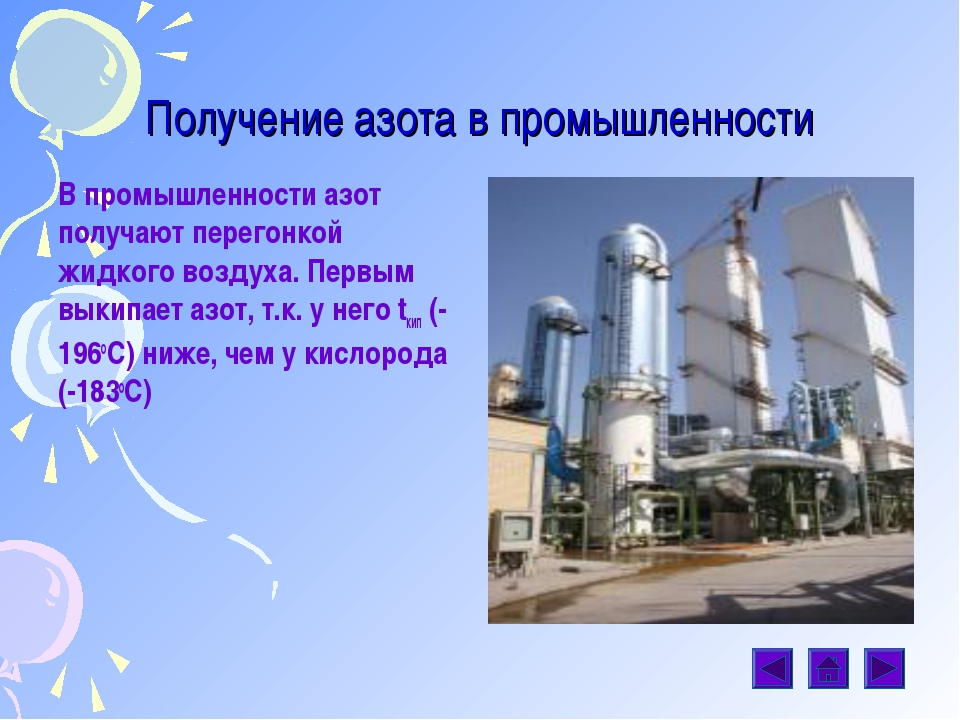 Получение азота в промышленности В промышленности азот получают перегонкой жи...