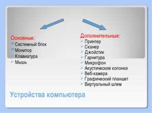 Устройства компьютера Основные: Системный блок Монитор Клавиатура Мышь Дополн