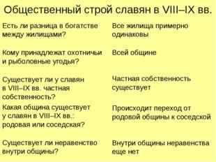 Общественный строй славян в VIII–IX вв. Есть ли разница в богатстве между жил