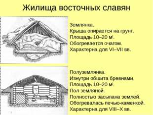 Жилища восточных славян Землянка. Крыша опирается на грунт. Площадь 10–20 м2.