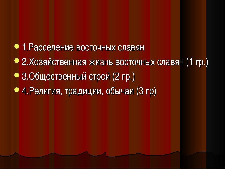 1.Расселение восточных славян 2.Хозяйственная жизнь восточных славян (1 гр.)...