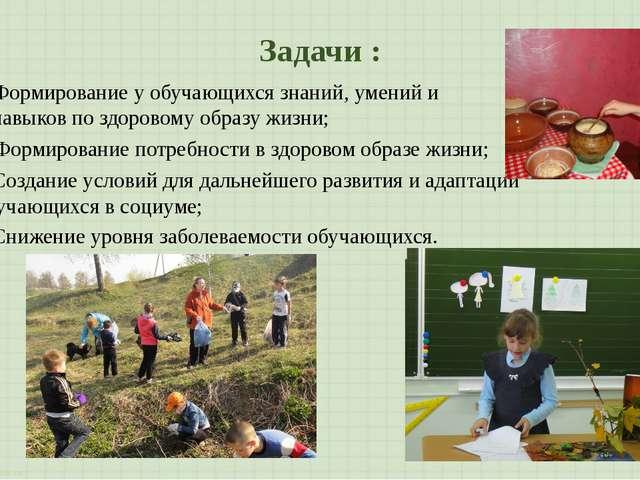 Задачи : Создание условий для дальнейшего развития и адаптации обучающихся в...