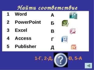 Найти соответствие 1-Г, 2-Д, 3-Б, 4-В, 5-А 1WordА 2PowerPointБ 3Excel