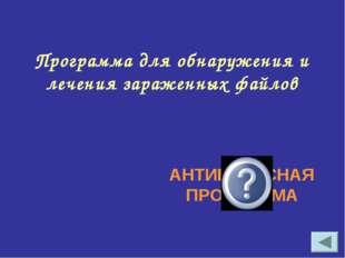 Программа для обнаружения и лечения зараженных файлов АНТИВИРУСНАЯ ПРОГРАММА