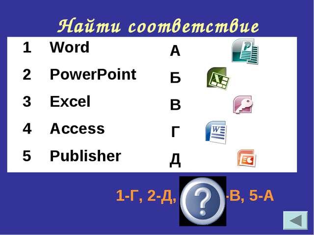 Найти соответствие 1-Г, 2-Д, 3-Б, 4-В, 5-А 1WordА 2PowerPointБ 3Excel...
