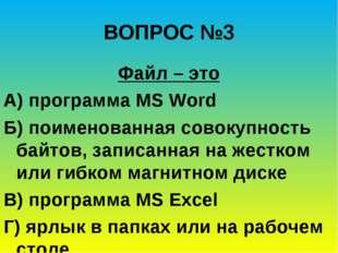 ВОПРОС №3 Файл – это А) программа MS Word Б) поименованная совокупность байто