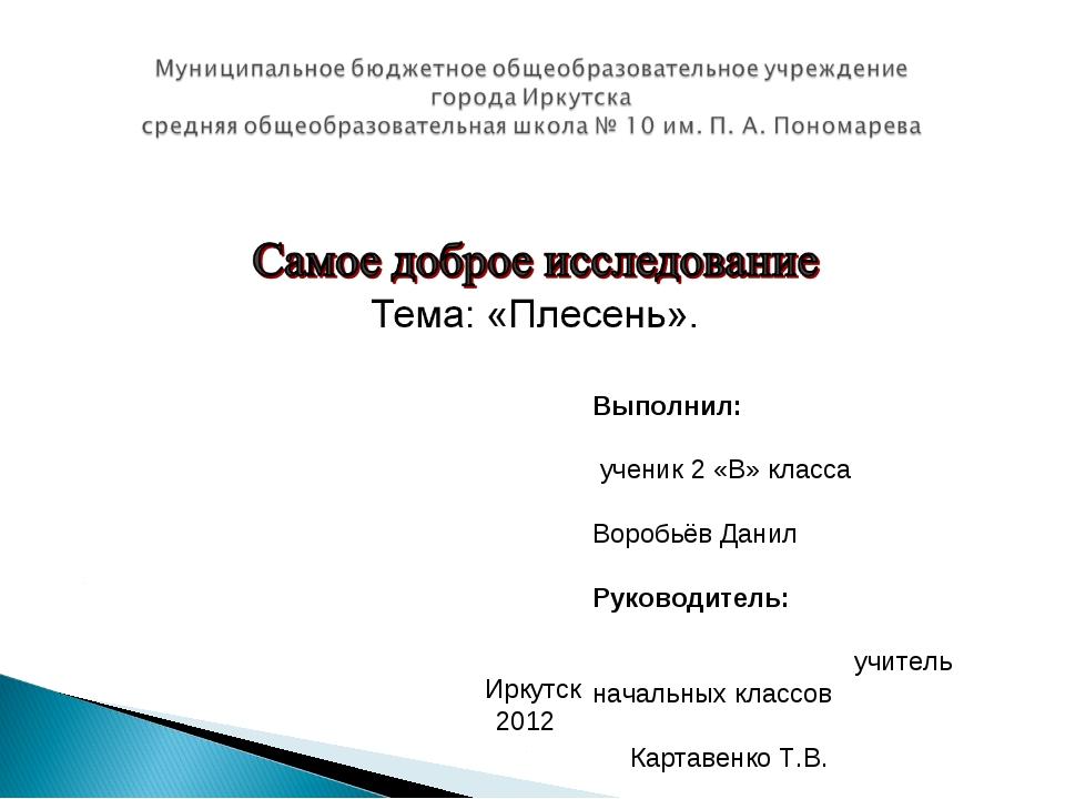 Выполнил: ученик 2 «В» класса Воробьёв Данил Руководитель: учитель начальных...