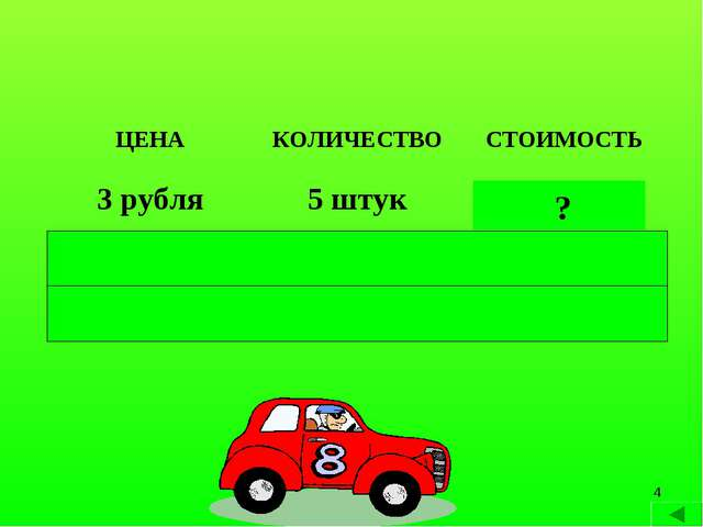 * ? ? ? ЦЕНАКОЛИЧЕСТВОСТОИМОСТЬ 3 рубля5 штук 15 рублей 4 рубля4 штуки1...