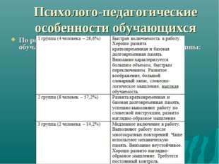 Психолого-педагогические особенности обучающихся По результатам диагностическ