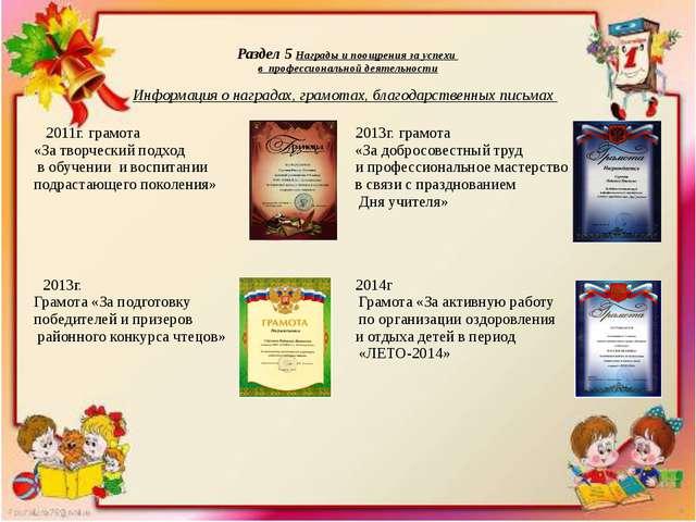 Раздел 5 Награды и поощрения за успехи в профессиональной деятельности Информ...