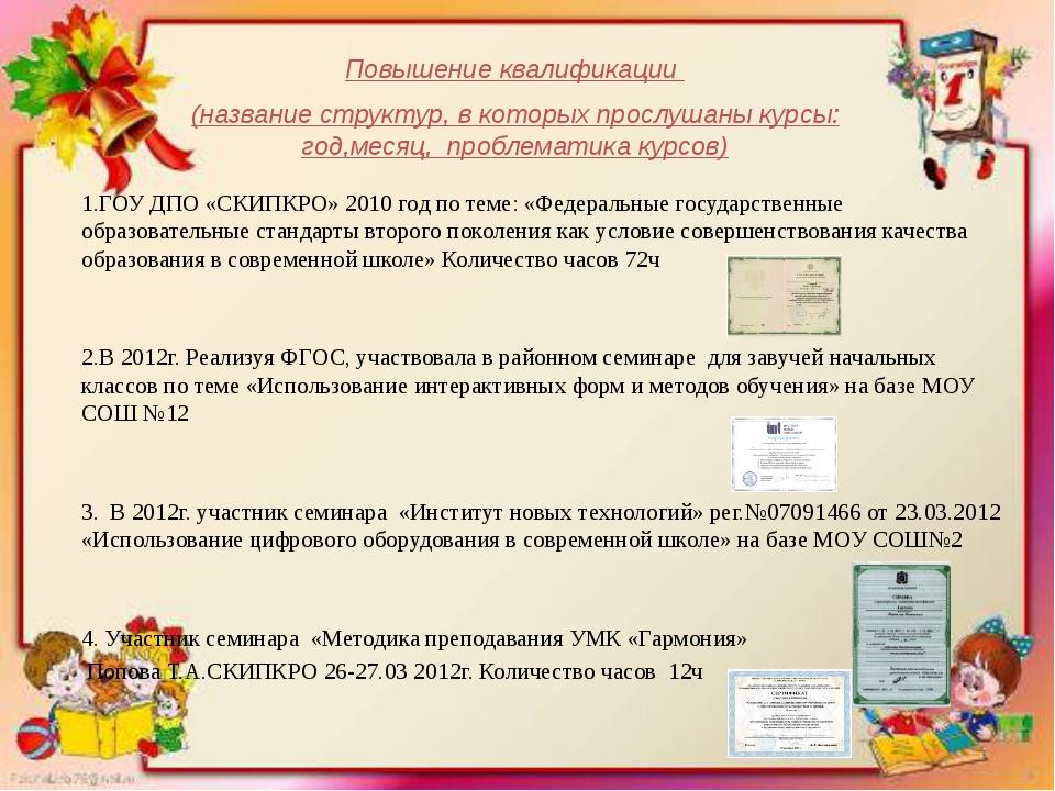 ГОУ ДПО «СКИПКРО» 2010 год по теме: «Федеральные государственные образовател...