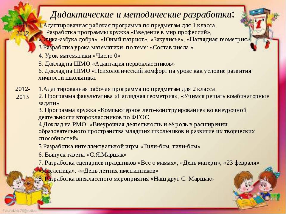 Дидактические и методические разработки: 2011-2012 1.Адаптированная рабочая п...
