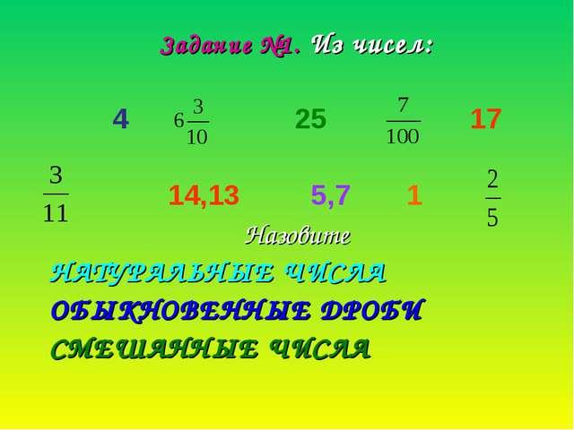 Задание №1. Из чисел: 4 25 17 14,13 5,7 1 Назовите НАТУРАЛЬНЫЕ ЧИСЛА ОБЫКНОВЕ...