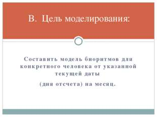 Составить модель биоритмов для конкретного человека от указанной текущей дат