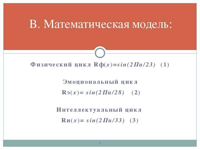 Физический цикл Rф(х)=sin(2Пи/23) (1) Эмоциональный цикл Rэ(х)= sin(2Пи/28)...