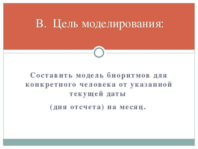 Составить модель биоритмов для конкретного человека от указанной текущей дат...