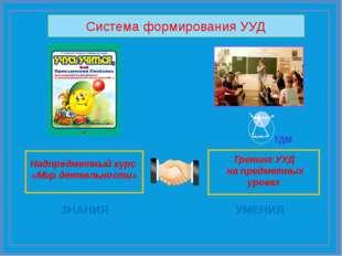 Надпредметный курс «Мир деятельности» Тренинг УУД на предметных уроках Систе