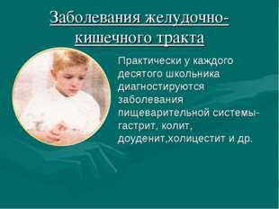Заболевания желудочно- кишечного тракта Практически у каждого десятого школьн