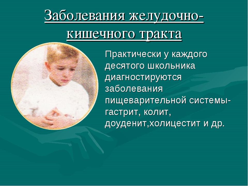 Заболевания желудочно- кишечного тракта Практически у каждого десятого школьн...