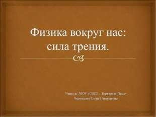 Учитель МОУ «СОШ с.Березовая-Лука» Черницова Елена Николаевна