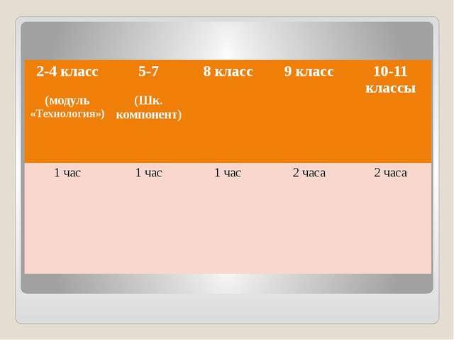 2-4класс (модуль«Технология») 5-7 (Шк. компонент) 8 класс 9 класс 10-11 класс...