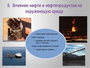 6.  Влияние нефти и нефтепродуктов на окружающую среду.