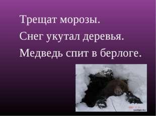 Трещат морозы. Снег укутал деревья. Медведь спит в берлоге.