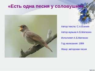 «Есть одна песня у соловушки» Автор текста: С.А.Есенин Автор музыки:А.Б.Матюх