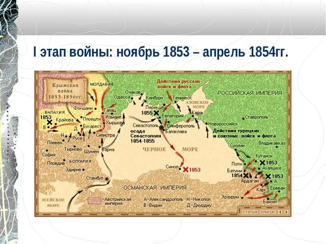 I этап войны: ноябрь 1853 – апрель 1854гг.