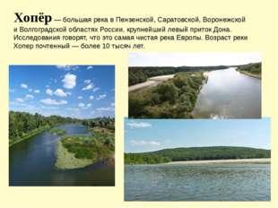 Хопёр — большая река в Пензенской, Саратовской, Воронежской и Волгоградской о