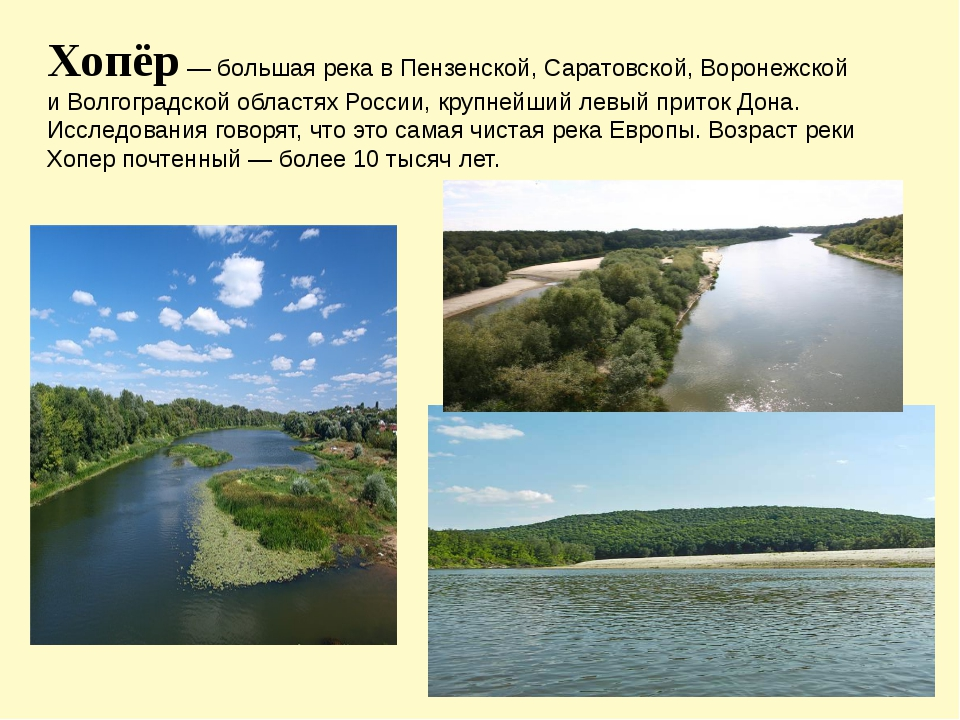 Хопёр — большая река в Пензенской, Саратовской, Воронежской и Волгоградской о...