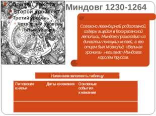 Миндовг 1230-1264 Согласно легендарной родословной, содержащейся в Воскресенс
