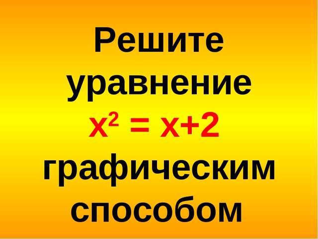 Решите уравнение x2 = x+2 графическим способом