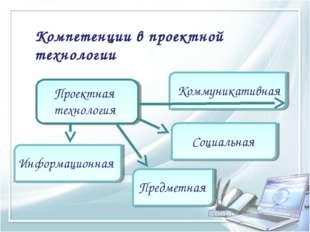 Компетенции в проектной технологии Проектная технология Информационная Коммун