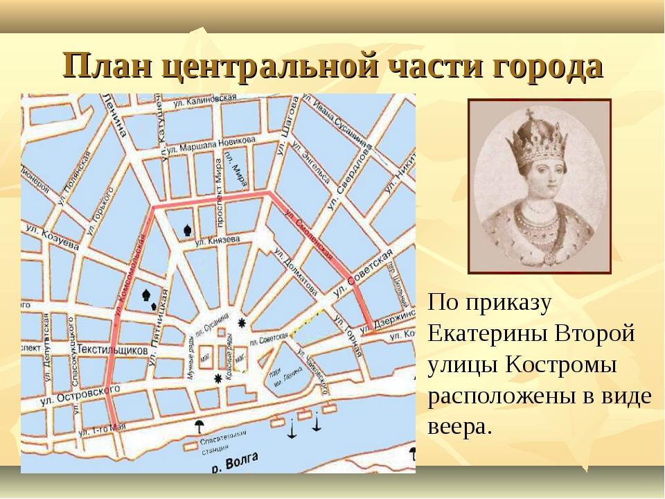 План центральной части города По приказу Екатерины Второй улицы Костромы расп...