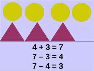 4 + 3 = 7 7 – 3 = 4 7 – 4 = 3