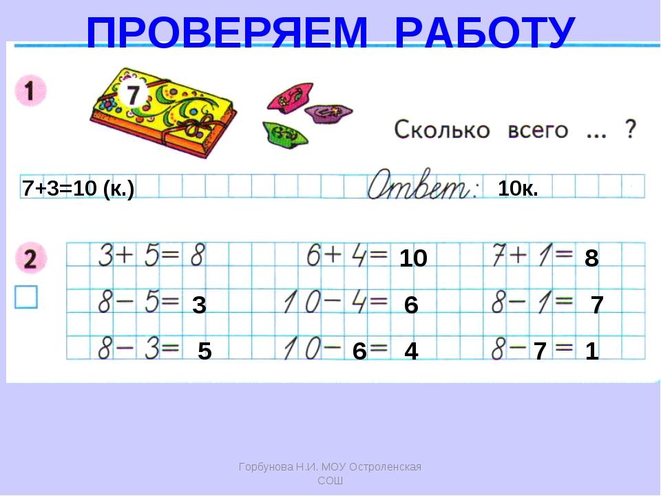 Горбунова Н.И. МОУ Остроленская СОШ 7+3=10 (к.) 10к. 3 5 10 6 6 4 8 7 7 1 ПРО...