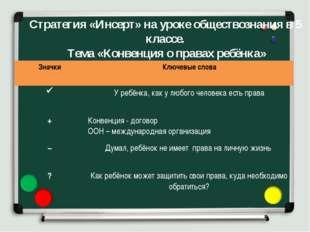 Стратегия «Инсерт» на уроке обществознания в 5 классе. Тема «Конвенция о прав