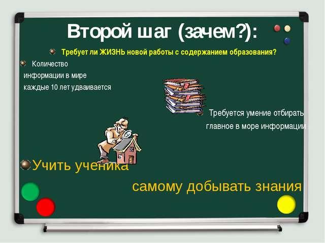 Второй шаг (зачем?): Требует ли ЖИЗНЬ новой работы с содержанием образования?...