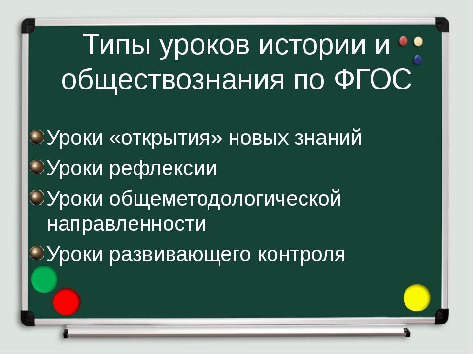 Типы уроков истории и обществознания по ФГОС Уроки «открытия» новых знаний Ур...