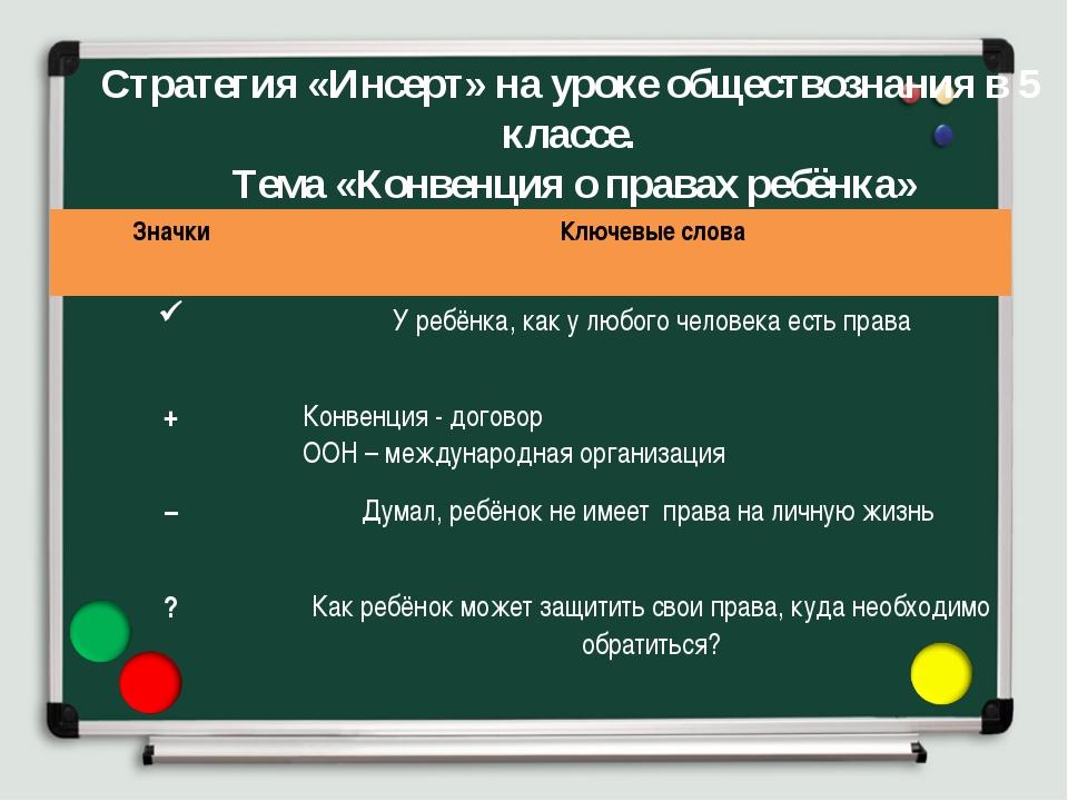 Стратегия «Инсерт» на уроке обществознания в 5 классе. Тема «Конвенция о прав...