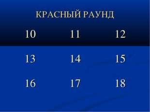 КРАСНЫЙ РАУНД 101112 131415 161718