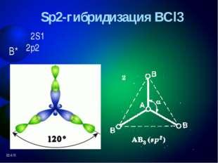 Гибридизация и геометрия молекул CO2 SO2 гибридизация sp sp2 угол связи 1800