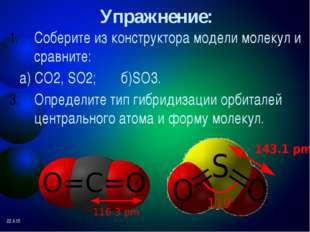Гибридизация и геометрия молекулы SF6 3S1 3p3 3d2 выравнивание S* SF6 валентн