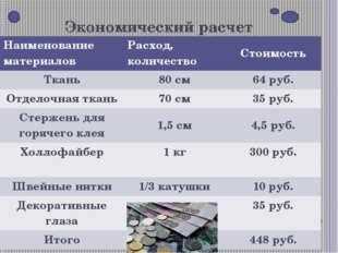 Экономический расчет Наименование материалов Расход, количество Стоимость Тка