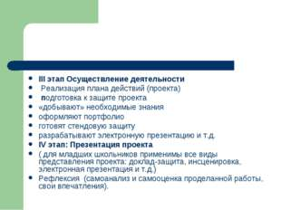 III этап Осуществление деятельности Реализация плана действий (проекта) подг