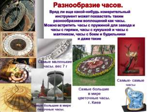Самые маленькие часы. вес 7 г Самые большие в мире цветочные часы. г. Киев С