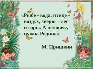 «Рыбе - вода, птице - воздух, зверю – лес и горы. А человеку нужна Родина» М.